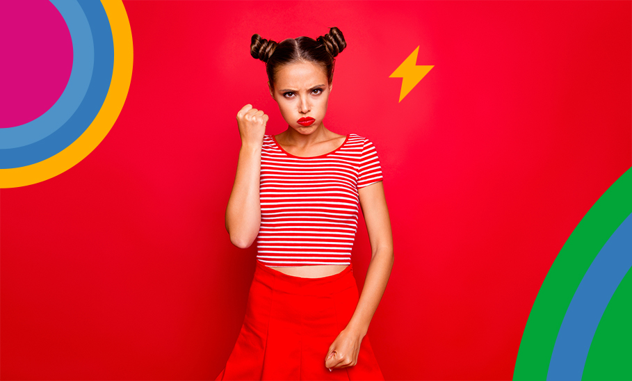 Mädchen voller Energie und Ärger