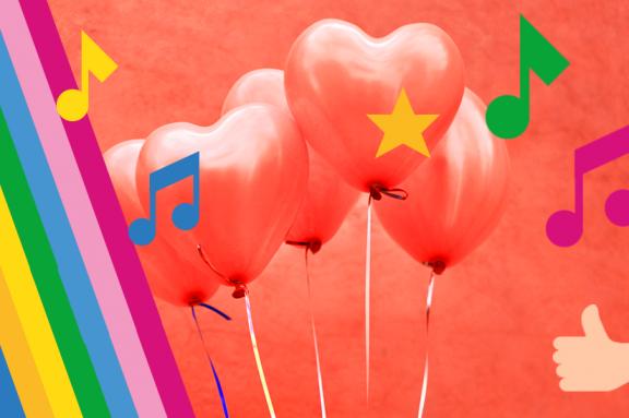Rote Herzluftballons