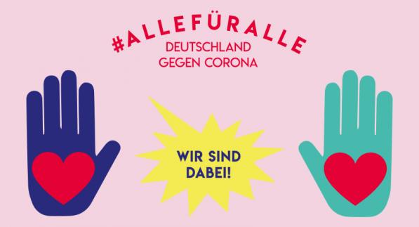 """Motiv zum Thema """"Alle für Alle"""" mit dem Titel """"Deutschland gegen Corona - Wir sind dabei"""""""
