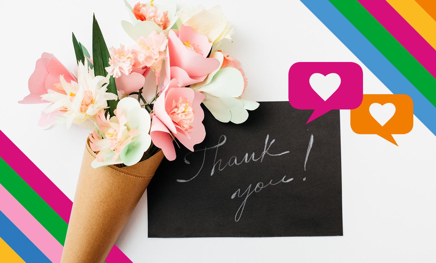 Papierblumenstrauß und Thank you Kärtchen